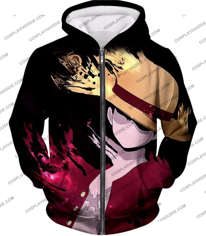 One Piece Super Cool Pirate Captain Straw Hat Luffy Black T-Shirt Op038 Zip Up Hoodie / Us Xxs