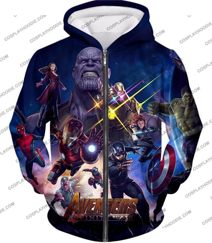 Image of The Avengers Awesome Infinity War Promo T-Shirt Ta038 Zip Up Hoodie / Us Xxs (Asian Xs)