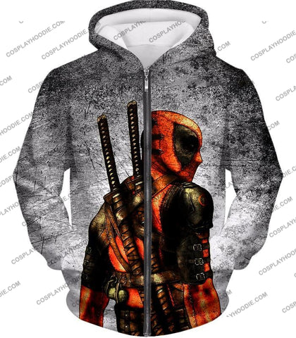 Image of Amazing Deadpool Serious Mercenary Pose Black Textured T-Shirt Dp038 Zip Up Hoodie / Us Xxs (Asian