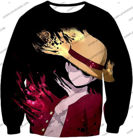 Image of One Piece Super Cool Pirate Captain Straw Hat Luffy Black T-Shirt Op038 Sweatshirt / Us Xxs (Asian
