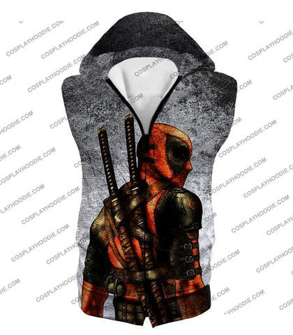 Image of Amazing Deadpool Serious Mercenary Pose Black Textured T-Shirt Dp038 Hooded Tank Top / Us Xxs (Asian