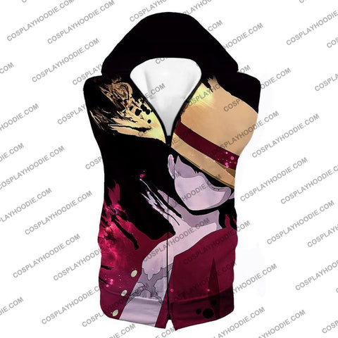 Image of One Piece Super Cool Pirate Captain Straw Hat Luffy Black T-Shirt Op038 Hooded Tank Top / Us Xxs