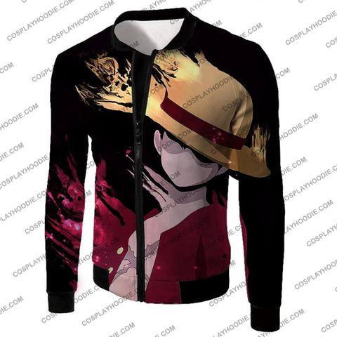 Image of One Piece Super Cool Pirate Captain Straw Hat Luffy Black T-Shirt Op038 Jacket / Us Xxs (Asian Xs)