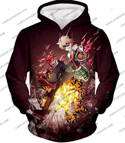 Image of My Hero Academia Super Cool Exploding Anime Bakugo Katsuki Ultimate Action Red T-Shirt Mha089 Hoodie
