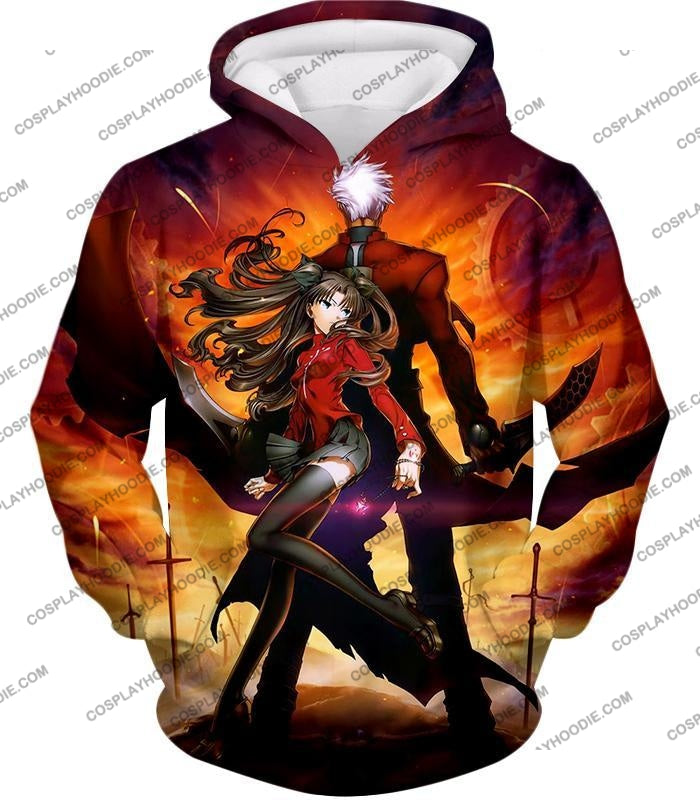 Fate Stay Night Awesome Rin And Archer Shirou Cool Action T-Shirt Fsn039 Hoodie / Us Xxs (Asian Xs)