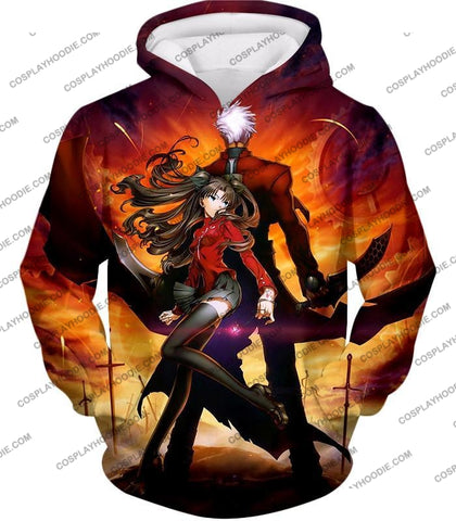Image of Fate Stay Night Awesome Rin And Archer Shirou Cool Action T-Shirt Fsn039 Hoodie / Us Xxs (Asian Xs)