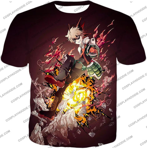 Image of My Hero Academia Super Cool Exploding Anime Bakugo Katsuki Ultimate Action Red T-Shirt Mha089 / Us