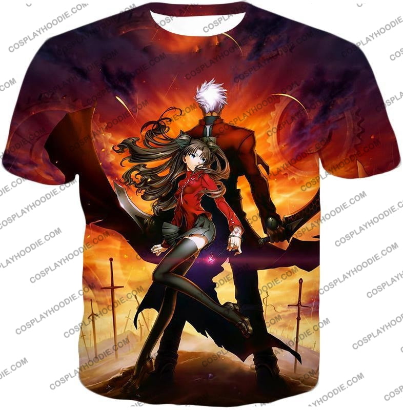 Fate Stay Night Awesome Rin And Archer Shirou Cool Action T-Shirt Fsn039 / Us Xxs (Asian Xs)
