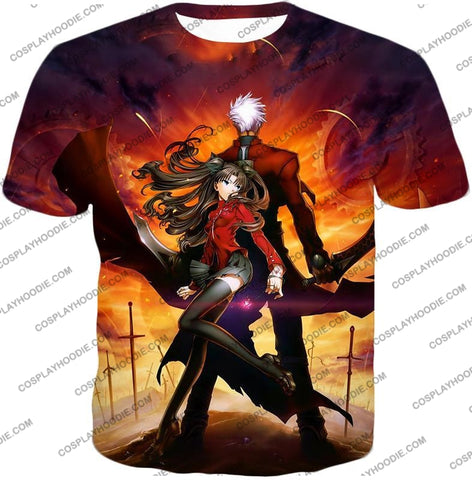 Image of Fate Stay Night Awesome Rin And Archer Shirou Cool Action T-Shirt Fsn039 / Us Xxs (Asian Xs)