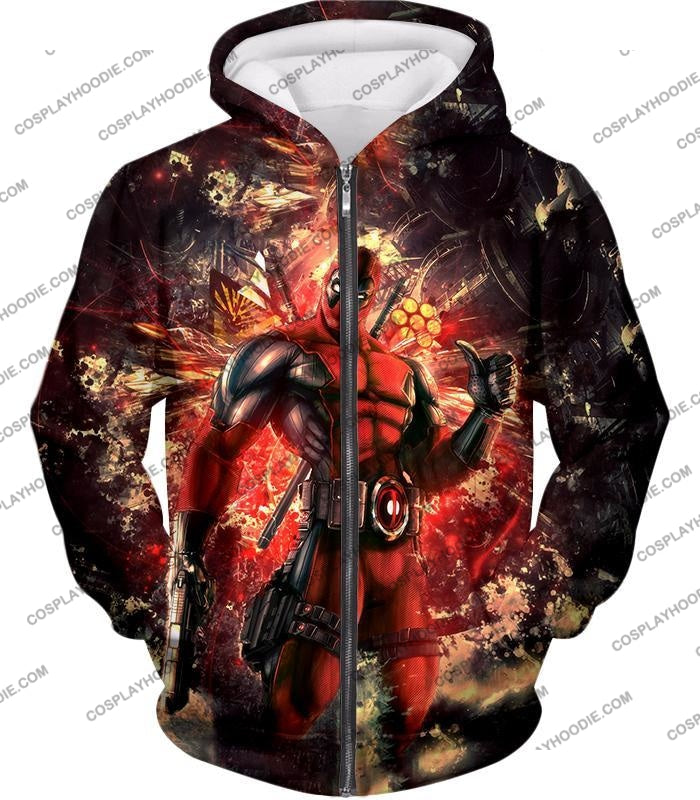 Ultimate Action Anti-Hero Deadpool Super Cool T-Shirt Dp039 Zip Up Hoodie / Us Xxs (Asian Xs)