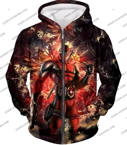Image of Ultimate Action Anti-Hero Deadpool Super Cool T-Shirt Dp039 Zip Up Hoodie / Us Xxs (Asian Xs)