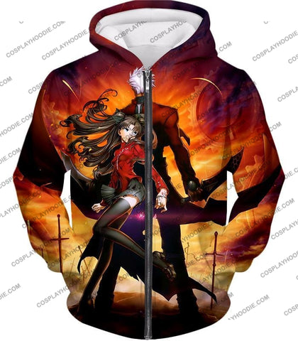 Image of Fate Stay Night Awesome Rin And Archer Shirou Cool Action T-Shirt Fsn039 Zip Up Hoodie / Us Xxs