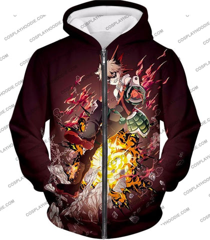 Image of My Hero Academia Super Cool Exploding Anime Bakugo Katsuki Ultimate Action Red T-Shirt Mha089 Zip Up