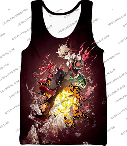 Image of My Hero Academia Super Cool Exploding Anime Bakugo Katsuki Ultimate Action Red T-Shirt Mha089 Tank