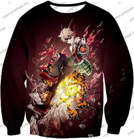 Image of My Hero Academia Super Cool Exploding Anime Bakugo Katsuki Ultimate Action Red T-Shirt Mha089