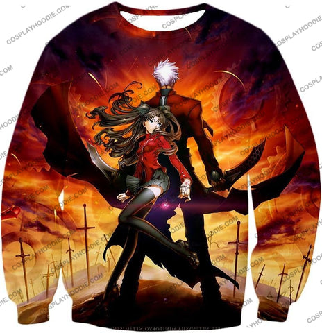 Image of Fate Stay Night Awesome Rin And Archer Shirou Cool Action T-Shirt Fsn039 Sweatshirt / Us Xxs (Asian