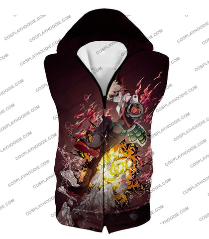 Image of My Hero Academia Super Cool Exploding Anime Bakugo Katsuki Ultimate Action Red T-Shirt Mha089 Hooded