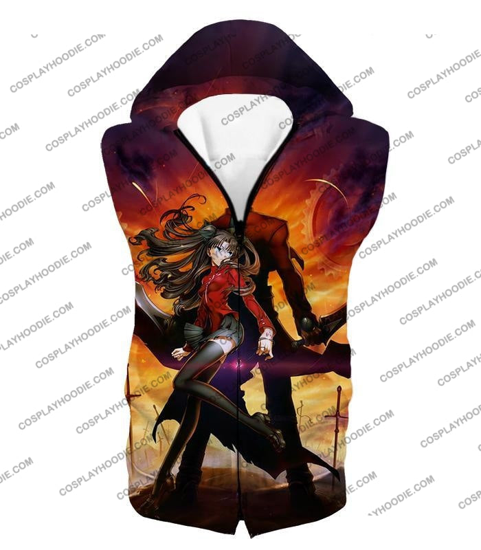 Fate Stay Night Awesome Rin And Archer Shirou Cool Action T-Shirt Fsn039 Hooded Tank Top / Us Xxs