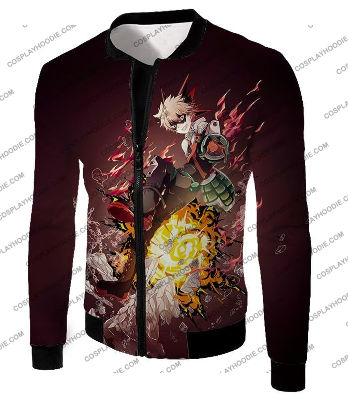My Hero Academia Super Cool Exploding Anime Bakugo Katsuki Ultimate Action Red T-Shirt Mha089 Jacket