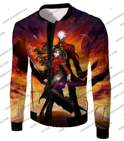 Image of Fate Stay Night Awesome Rin And Archer Shirou Cool Action T-Shirt Fsn039 Jacket / Us Xxs (Asian Xs)