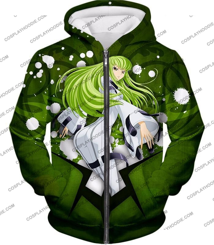 Anime Girl C.c. The Immortal Witch Cool Graphic Green T-Shirt Cg004 Zip Up Hoodie / Us Xxs (Asian