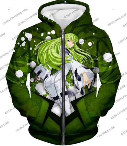 Image of Anime Girl C.c. The Immortal Witch Cool Graphic Green T-Shirt Cg004 Zip Up Hoodie / Us Xxs (Asian