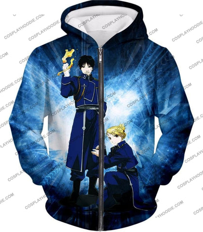 Image of Fullmetal Alchemist Awesome State Military Personnels Roy X Riza Anime Action Pose T-Shirt Fa004 Zip