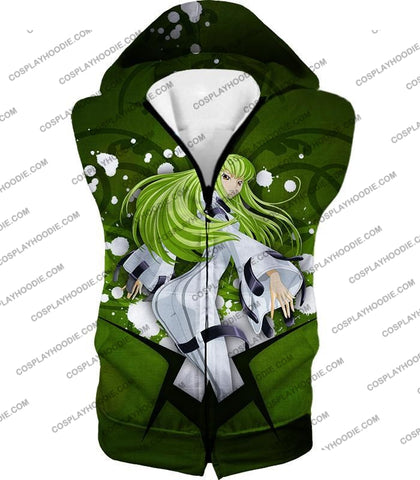 Image of Anime Girl C.c. The Immortal Witch Cool Graphic Green T-Shirt Cg004 Hooded Tank Top / Us Xxs (Asian