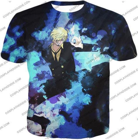 Image of One Piece Super Handsome Straw Hat Pirate Vinsmoke Sanji Action T-Shirt Op040 / Us Xxs (Asian Xs)