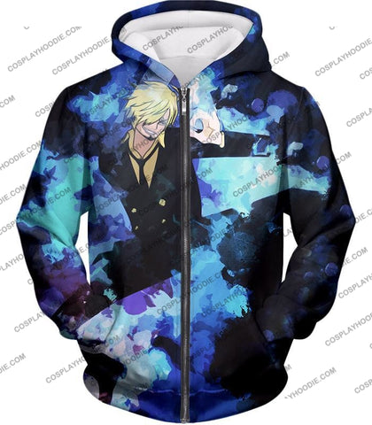 Image of One Piece Super Handsome Straw Hat Pirate Vinsmoke Sanji Action T-Shirt Op040 Zip Up Hoodie / Us Xxs