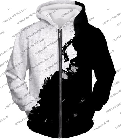 Image of Ultimate Psychotic Villain The Joker Amazing Black And White T-Shirt Bm040 Zip Up Hoodie / Us Xxs