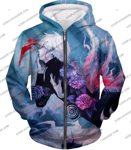 Image of Tokyo Ghoul Cool Anime Graphic Promo Ken Kaneki Awesome Printed T-Shirt Tg090 Zip Up Hoodie / Us Xxs