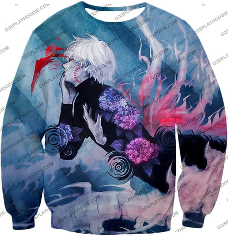Image of Tokyo Ghoul Cool Anime Graphic Promo Ken Kaneki Awesome Printed T-Shirt Tg090 Sweatshirt / Us Xxs