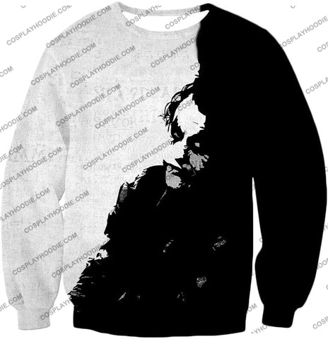 Image of Ultimate Psychotic Villain The Joker Amazing Black And White T-Shirt Bm040 Sweatshirt / Us Xxs