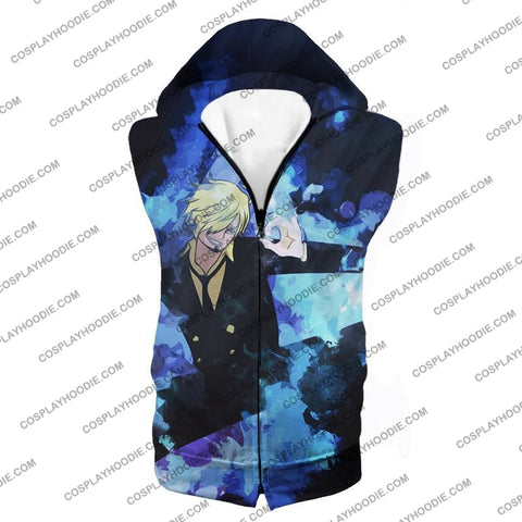 Image of One Piece Super Handsome Straw Hat Pirate Vinsmoke Sanji Action T-Shirt Op040 Hooded Tank Top / Us