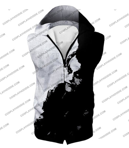 Image of Ultimate Psychotic Villain The Joker Amazing Black And White T-Shirt Bm040 Hooded Tank Top / Us Xxs