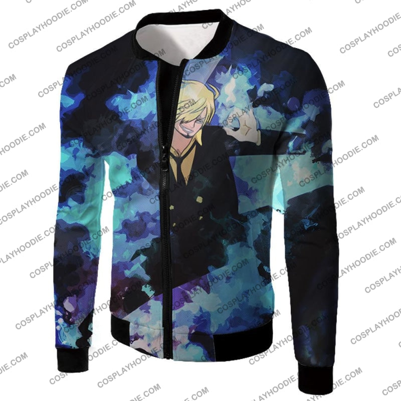 One Piece Super Handsome Straw Hat Pirate Vinsmoke Sanji Action T-Shirt Op040 Jacket / Us Xxs (Asian