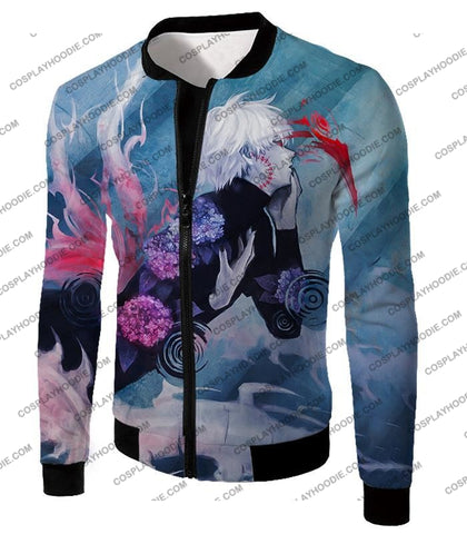 Image of Tokyo Ghoul Cool Anime Graphic Promo Ken Kaneki Awesome Printed T-Shirt Tg090 Jacket / Us Xxs (Asian