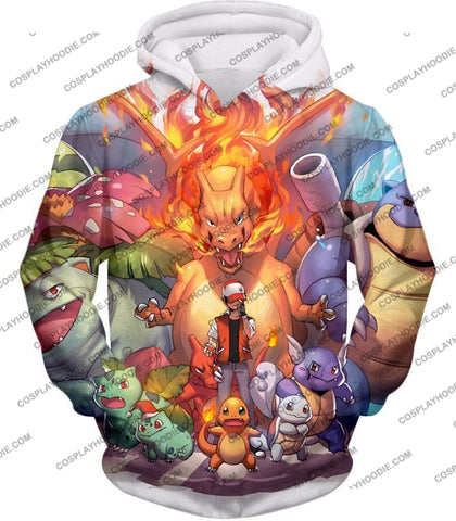 Image of Pokemon Ash Ketchum All Cool First Generation Pokemons Awesome T-Shirt Pkm041 Hoodie / Us Xxs (Asian