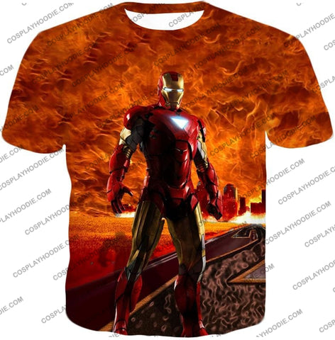 Image of Incredible Avenger Iron Man Blazing Action T-Shirt Im041 / Us Xxs (Asian Xs)