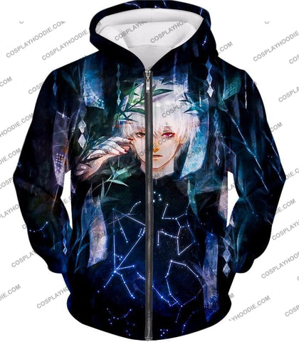 Image of Tokyo Ghoul Awesome Promo Ken Kaneki Cool Graphic Printed T-Shirt Tg091 Zip Up Hoodie / Us Xxs