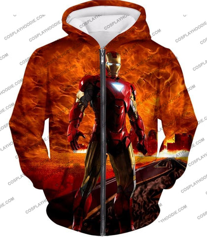 Image of Incredible Avenger Iron Man Blazing Action T-Shirt Im041 Zip Up Hoodie / Us Xxs (Asian Xs)