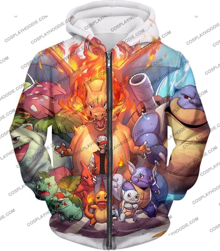 Pokemon Ash Ketchum All Cool First Generation Pokemons Awesome T-Shirt Pkm041 Zip Up Hoodie / Us Xxs