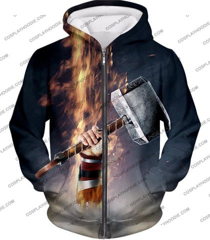 Image of Awesome Thor Thunder Hammer Cool Grey T-Shirt Thor041 Zip Up Hoodie / Us Xxs (Asian Xs)