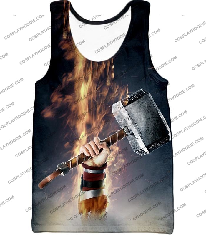Awesome Thor Thunder Hammer Cool Grey T-Shirt Thor041 Tank Top / Us Xxs (Asian Xs)