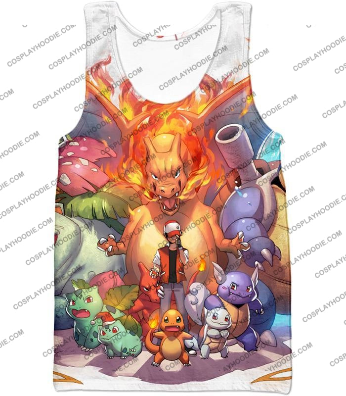 Pokemon Ash Ketchum All Cool First Generation Pokemons Awesome T-Shirt Pkm041 Tank Top / Us Xxs