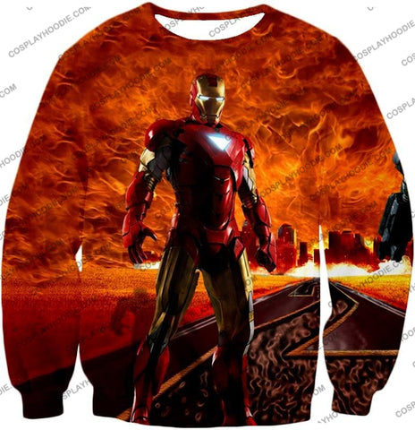 Image of Incredible Avenger Iron Man Blazing Action T-Shirt Im041 Sweatshirt / Us Xxs (Asian Xs)
