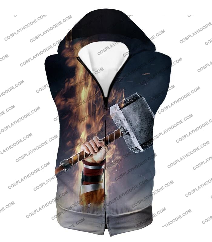 Awesome Thor Thunder Hammer Cool Grey T-Shirt Thor041 Hooded Tank Top / Us Xxs (Asian Xs)