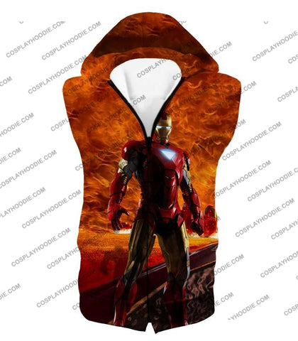 Image of Incredible Avenger Iron Man Blazing Action T-Shirt Im041 Hooded Tank Top / Us Xxs (Asian Xs)