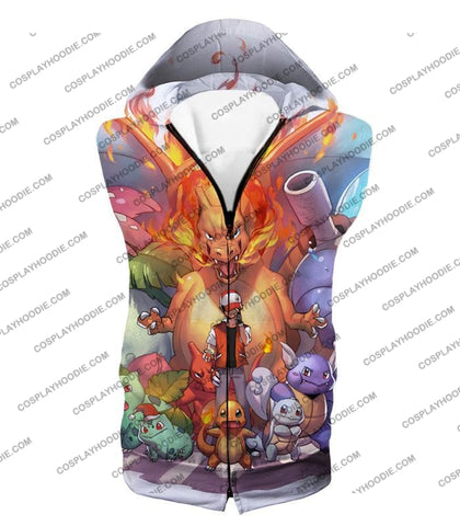 Image of Pokemon Ash Ketchum All Cool First Generation Pokemons Awesome T-Shirt Pkm041 Hooded Tank Top / Us